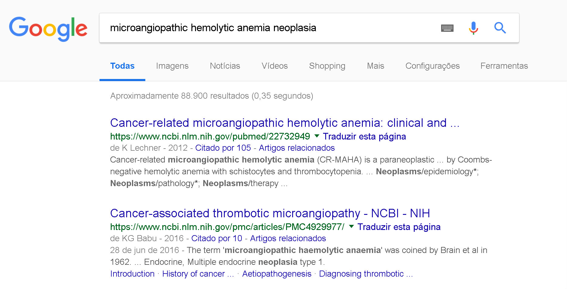 Google - Anemia microangiopática - wicked problems